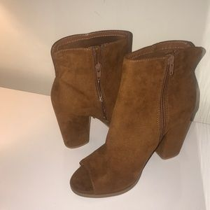 Brown open toe heeled boots